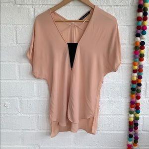Zara Pink Blush Cropped Sexy Blouse sz XS